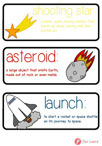 A great set of 27 labels (plus 3 blank labels) displaying key vocabulary related to space with an image and their definitions and facts. Labels include planet names plus other space related vocabulary such as rocket, astronaut and galaxy. Ideal for any space display or role play area. Also available in A5 size, in full-colour and as part of our space pack. See www.justteachit.co.uk