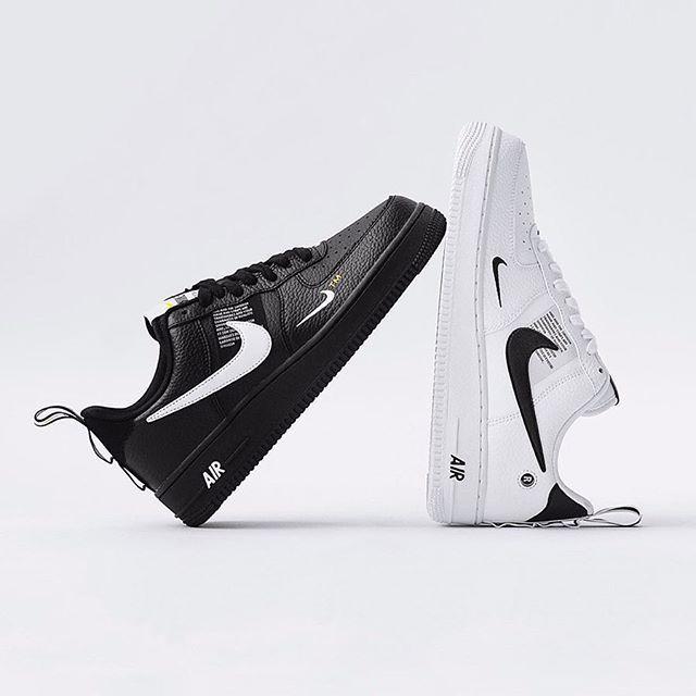 Nike Air Force 1 07 Lv8 Utility Black And White Nike Airforce Nikeairforce Airforce1 Everysize Nikea Nike Air Force Black Black And White Nikes Nike Air