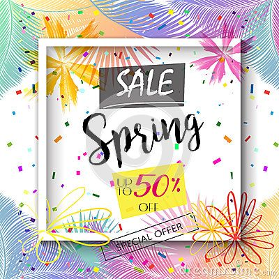 Sale Spring calligraphy lettering festive background design. Spring season banner, Marketing poster, Advertising placard, Holiday flyer with flowers, Vector