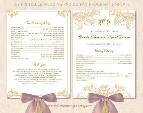 wedding program fan template paddle fan program program f