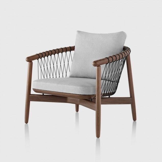 Crosshatch Chair with Walnut Frame and Gray Upholstery