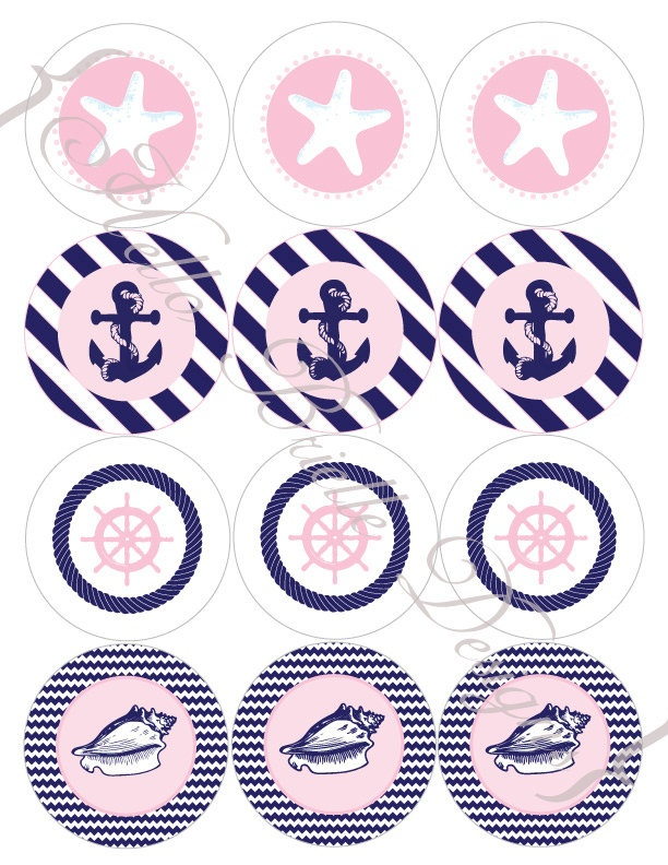 Classy Nautical Party Printable Cupcake Toppers in Pink. $5.00, via Etsy.