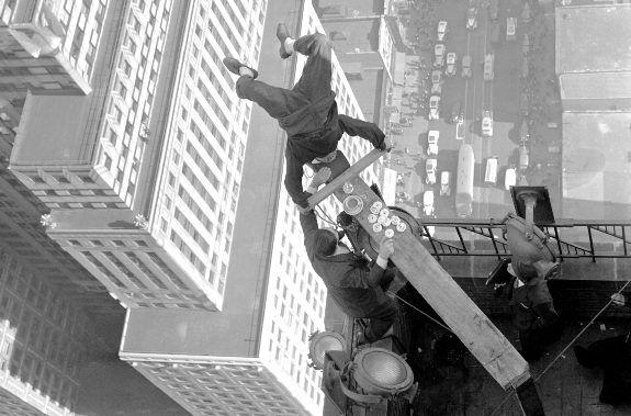 A daredevil stuntman on a 42nd Street skyscraper