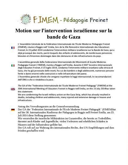 Motion sur l'intervention sul la bande de Gaza #Ridef2014