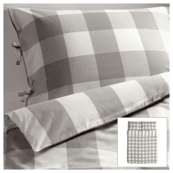 IKEA EMMIE RUTA Duvet cover and pillowcases in grey & white | I love the big checks. I think it would look good paired with polka dots, or even toile, in the same colors