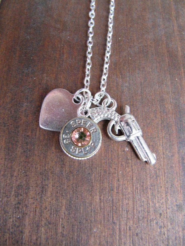 Bullet Necklace with Pistol Charm Silver Heart  by JillsJewels4You, $19.95