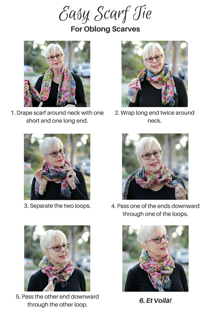 Scarf tying tutorial: an easy tie for oblong scarves. More at une femme d'un certain age.