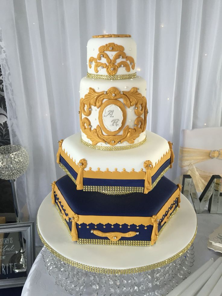 Tiered Asian style scroll wedding cake
