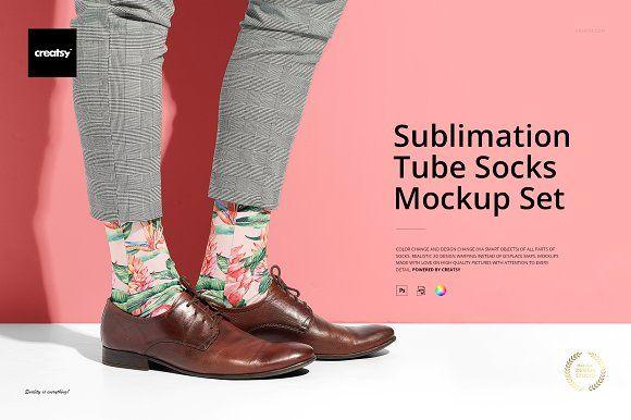 Download Sublimation Tube Socks Mockup Set Tube Socks Mockup Socks