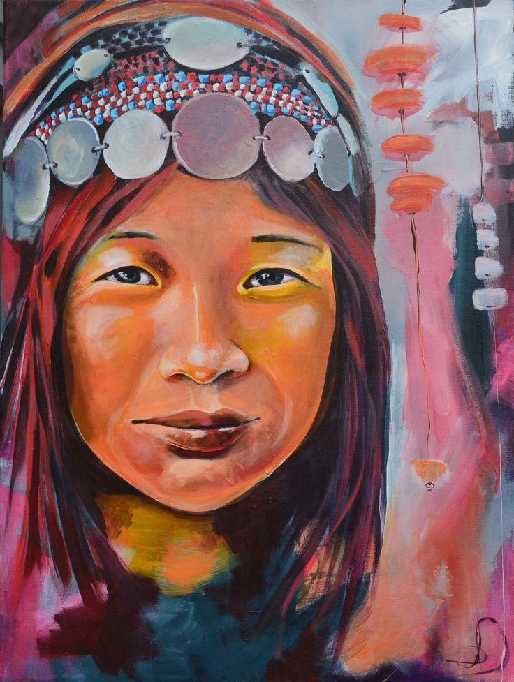 Akha woman, Laos 60X80 cm. Acrylic on canvas. Made by Naja Duarte.