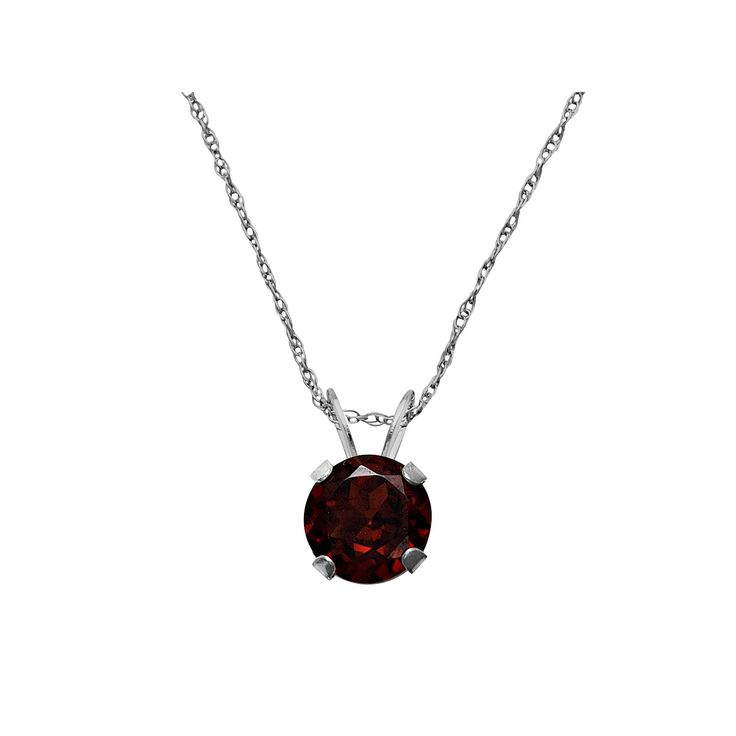 "10k White Gold Garnet Pendant, Women's, Size: 18"", Red"