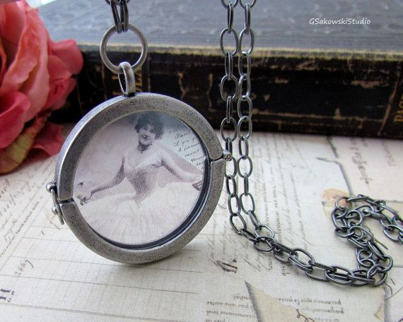 Ballerina Antique Silver Large Round Photo Locket, Vintage Inspired Ballet Glass Locket