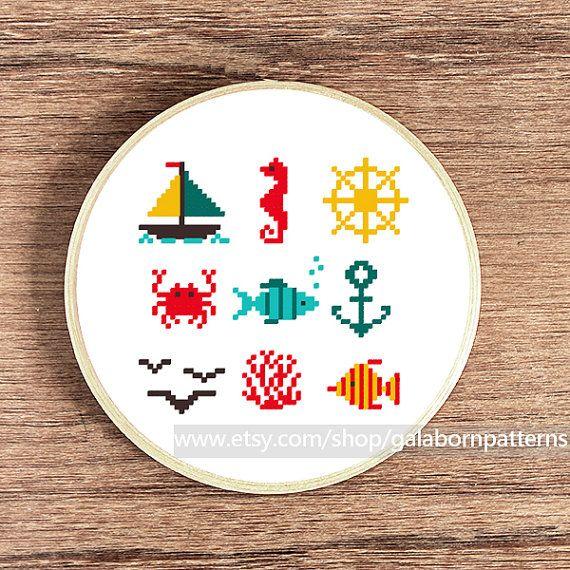 Tiny PDF cross stitch patterns Set of 9 by galabornpatterns