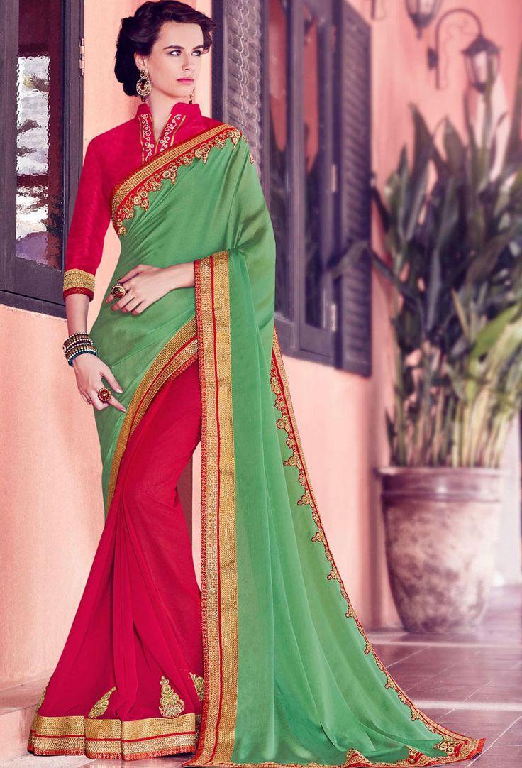Green,#Red Satin,Chiffon #Half N #Half #Saree #nikvik  #usa #designer #australia #canada #freeshipping #dress #saris