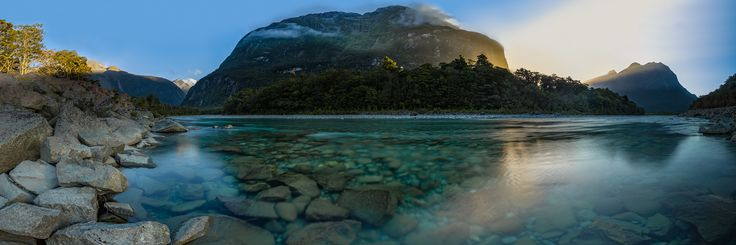 an ultrawide (+180 degrees) panoramic HDR Milford Sound, Fiordland. NZ