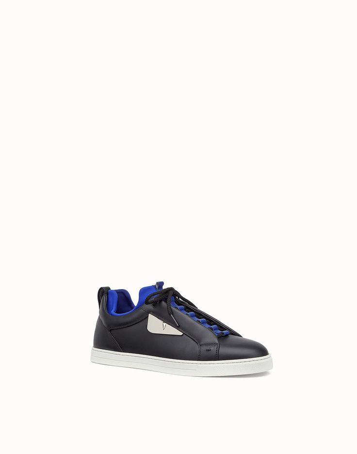 FENDI SNEAKERS - Black leather sneakers - view 2 detail