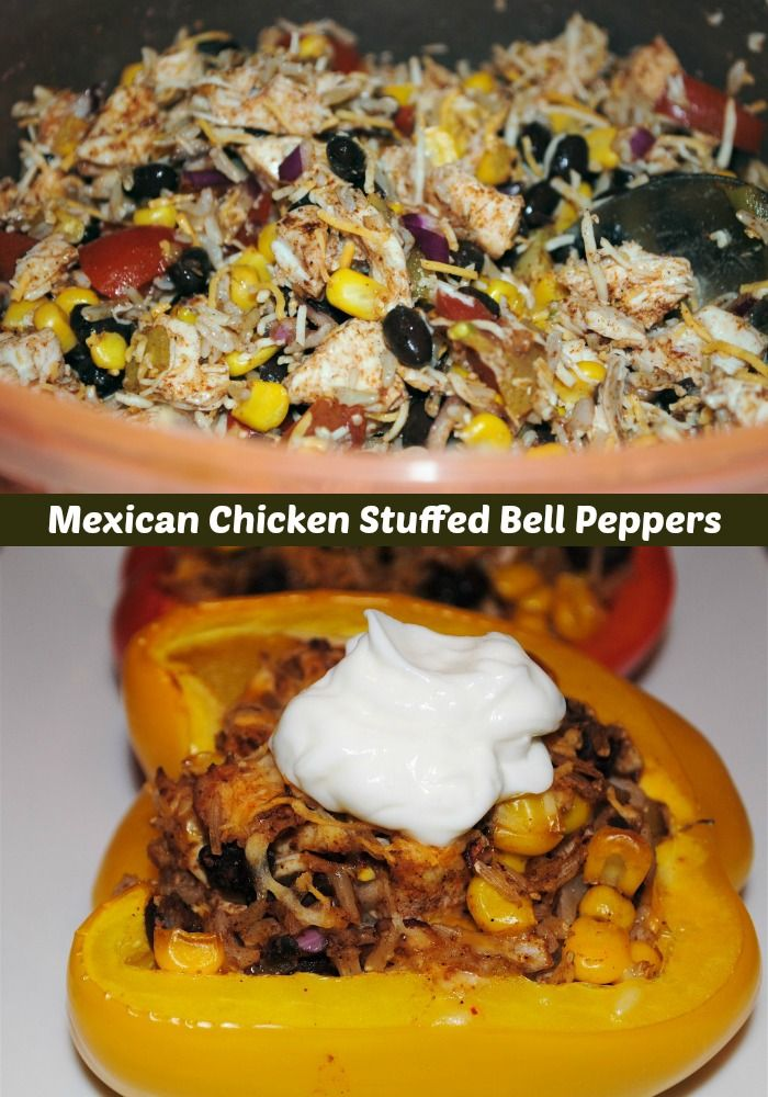 Blast of Color Mexican Stuffed Bell PeppersSuper Healthy Mexican Stuffed Peppers with Chicken and Rice