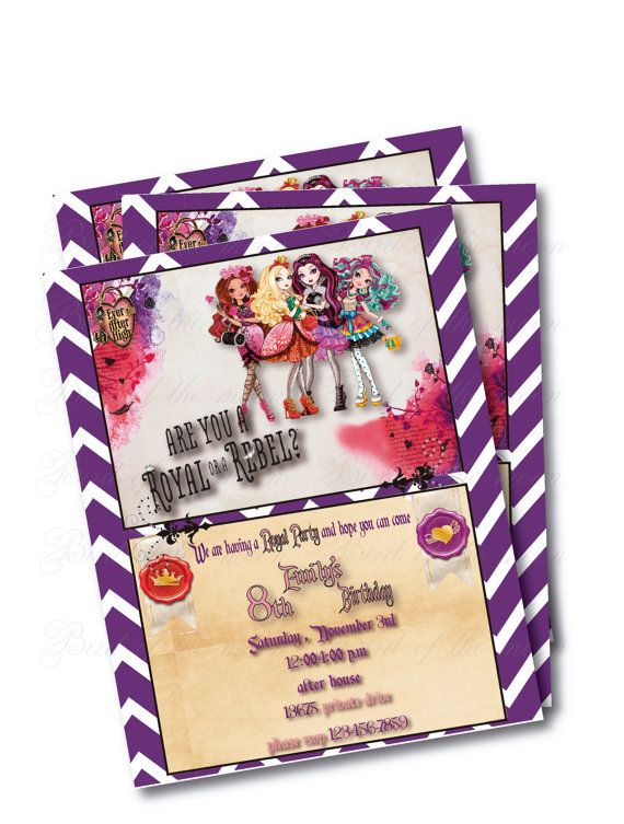 ever after high 3 Birthday Party Invitation by birdofthemoon, $8.00
