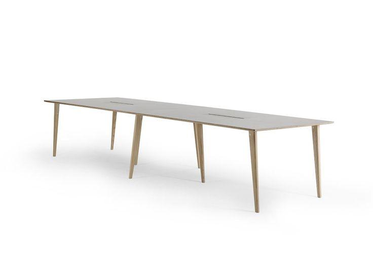 Sarek 360 DT table by Lundbergs  Möbler with Desktop linoneum table top and databox  #Lundbergsmobler #swedishdesign #contractfurniture #madeinsweden #Sarek #meetingtable #swedishdesign #nordicdesign #interiordesign #interiorarchitecture #interieur #Lundbergs #Möbler #Tibro #Sweden