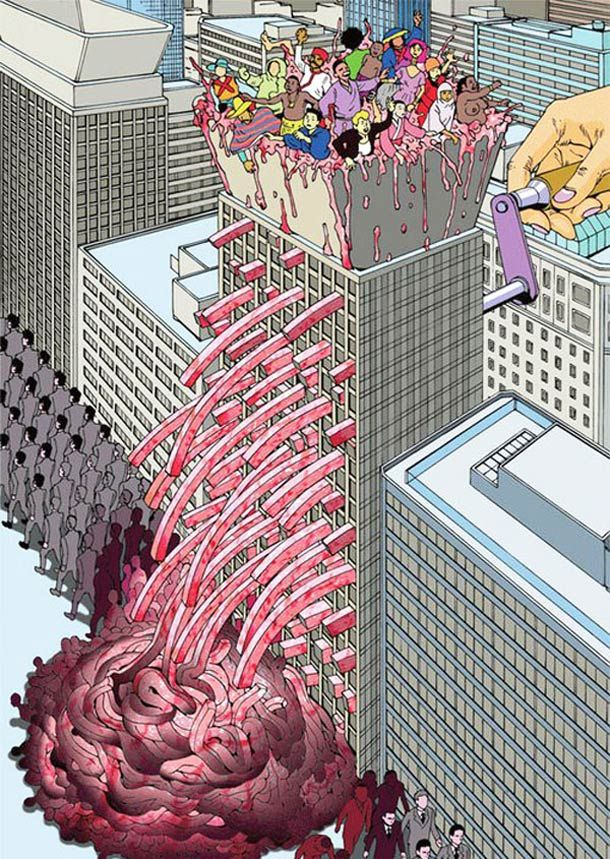 "Strange and twisted illustrations by Japanese Shintaro Kago, the great and tortured mangaka precursor of the ""fashionable paranoia"". Surreal illustrations in which he does not hesitate to push his concepts to their fullest to express his ideas with humor. Some incredible images amid criticism of modern Japanese society…"