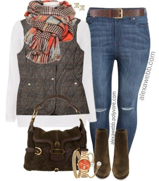 Plus Size Orange Plaid Scarf Outfit Ideas – Plus Size Fall and Winter Outfits – …