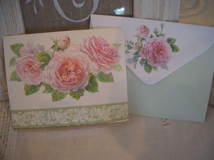 lot 3 cartes doubles gaufrées & enveloppes rose ancienne shabby chic NEUF cards