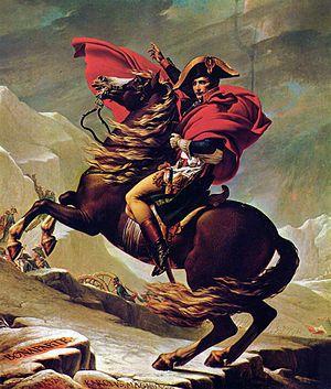 """""""Napoleón cruzando los Alpes"""" Autor: Jacques-Louis David 1801 Óleo sobre lienzo- Neoclasicismo. Las dimensiones del caballo y el jinete, que ocupan todo el lienzo y lo reducido del sitio dónde apoya las patas el caballo."""