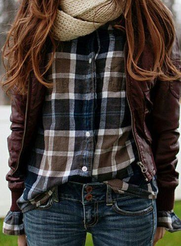<3 Plaid flannel, brown leather, + worn jeans