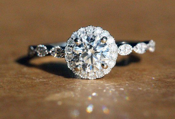 Vintage Style Halo Engagement Ring – GIA/AGS