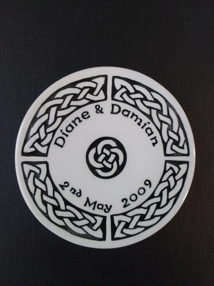Wedding favour coasters. Celtic Quadrant design in black.