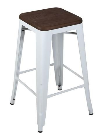White Replica Tolix Stool 66cm with Oak Timber Seat (PERTH ONLY)