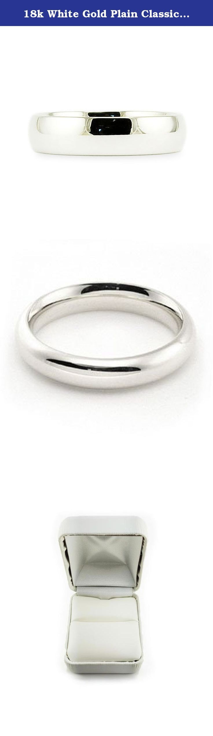 18k White Gold Plain Classic 4mm COMFORT FIT WEDDING BAND size 5.5. This beautiful classic band has a slightly rounded body, bright finish and is comfort fit. The comfort fit design features a rounded polished interior that allows the ring to slide easily and rest comfortably on the finger. Caring For Your Jewelry To keep your jewelry shining and scratch-free, avoid contact with harsh chemicals and chlorine. To clean gold jewelry, use warm water and a mild soap. We do not suggest using a...