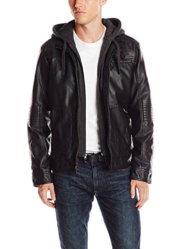Wantdo Men's Fashion Faux Jackets Pu Leather Jackets With Removable Hood With Gift Faux Jackets Pu Leather