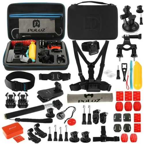 [USD21.86] [EUR19.55] [GBP15.79] PULUZ 53 in 1 Accessories Total Ultimate Combo Kit with EVA Case (Chest Strap + Suction Cup Mount + 3-Way Pivot Arms + J-Hook Buckle + Wrist Strap + Helmet Strap + Extendable Monopod + Surface Mounts + Tripod Adapters + Storage Bag + Handlebar Mount) for GoPro HERO4 Session /4 /3+ /3 /2 /1
