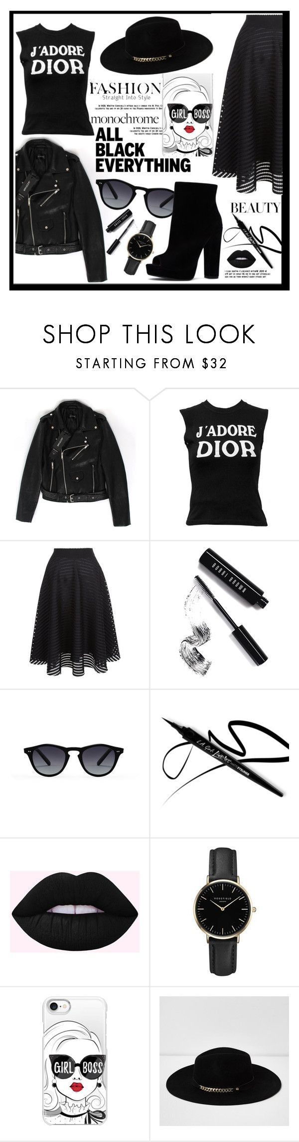 """""""Monochrome: All Black Everything"""" by liviagb ❤ liked on Polyvore featuring Christian Dior, New Look, Bobbi Brown Cosmetics, ROSEFIELD, Casetify, River Island, monochrome and allblack"""