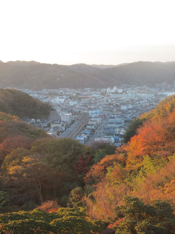 Looking down Zushi with Autumn color.