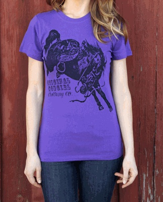 Bucking Horse Gone Wild Purple Tee