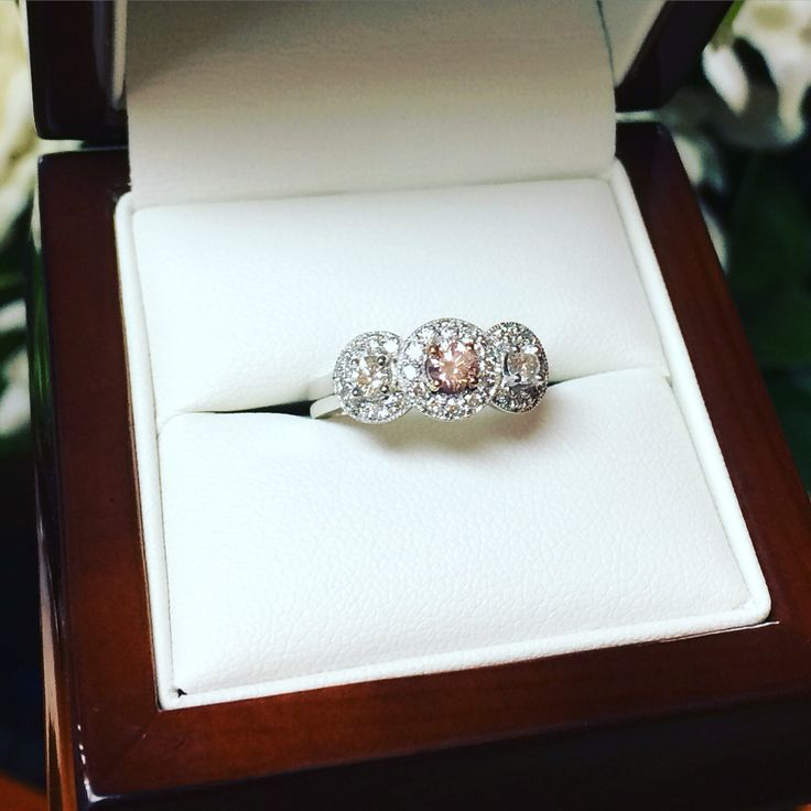 Argyle Pink Diamond triple halo engagement ring