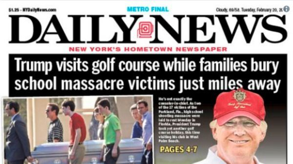 New York Daily News Rips Trump For Visiting Golf Course During