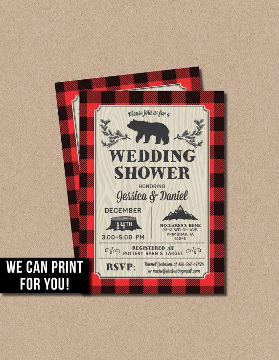 Lumberjack Wedding Shower Invitations bridal bear buffalo plaid wood