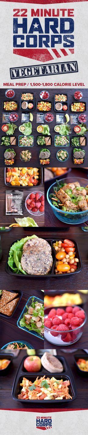 Vegetarian Meal Prep for 22 Minute Hard Corps 1,500-1,800 Calorie Level | BeachbodyBlog.com