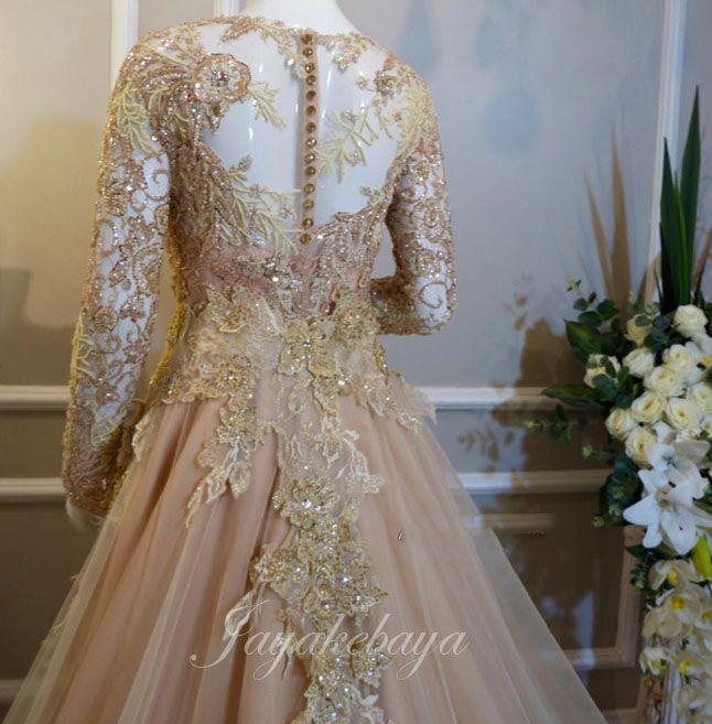Wedding kebaya modern dress orange 2016