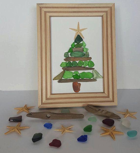 Oh Christmas Tree 20+ Pieces Of 100% Green Seaglass, Driftwood & A Starfish #seaglass #christmas #homedecor #seaglassart #green