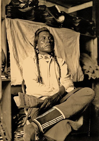 """Curley - Crow Curley was a scout for Gen. George Custer and watched the 1876 Battle at the Little Big Horn from a periphery. He was described as a """"remorse, taciturn sort of fellow and disinclined to make friends, and rarely talks or pays much attention to anyone."""" He once said, """"I spring from Crow earth and will never leave it. A teepee and food for my wife and child—grass for my ponies—and I go back to the ground of my fathers."""" Fenn tells us this photo has never been published before."""