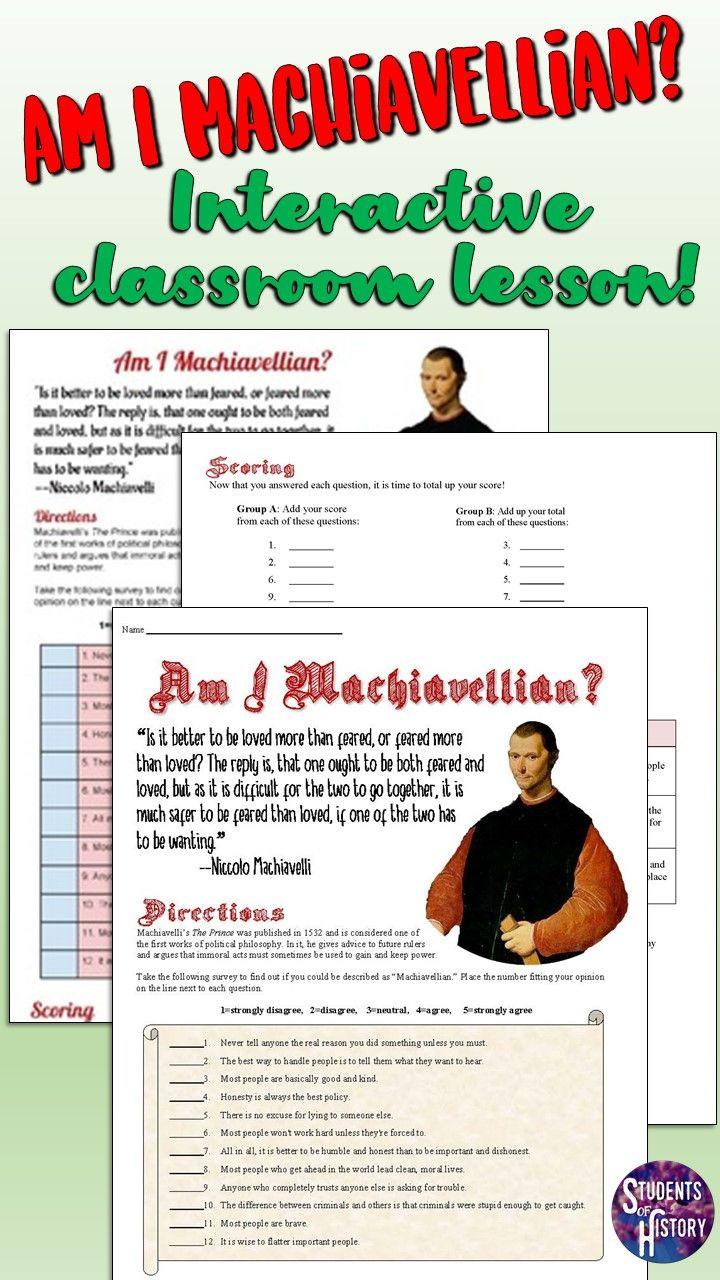 Am I Machiavellian Quiz Based On The Prince High School World History Machiavellian Social Studies Classroom
