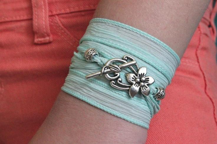 Mint ribbon wrap bracelet to match my skinny jeans: Beaches Jewelry, Beaches Surfers, Silk Ribbon, Summer Beach, Mint Ribbons, Hibiscus Flowers, Bracelets Seafoam, Colors Blocks, Blocks Summer