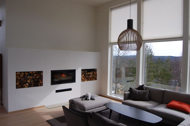 Living room in Norway with #RAIS900 - very nice installation. #fireplace #insert #nordicdesign #pejs #peis