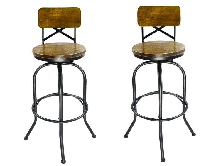 Vilavita Set of 2 Adjustable Round Wooden Bar Stools with Backrest, Retro  Finish Bar Chairs - Best 25+ Wrought Iron Bar Stools Ideas On Pinterest Welded