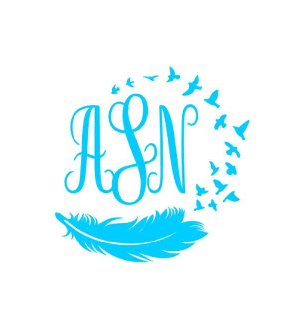 Feather bird monogram vinyl decal custom car decal personalized 3 letter monogram self applied monogram personalized decal
