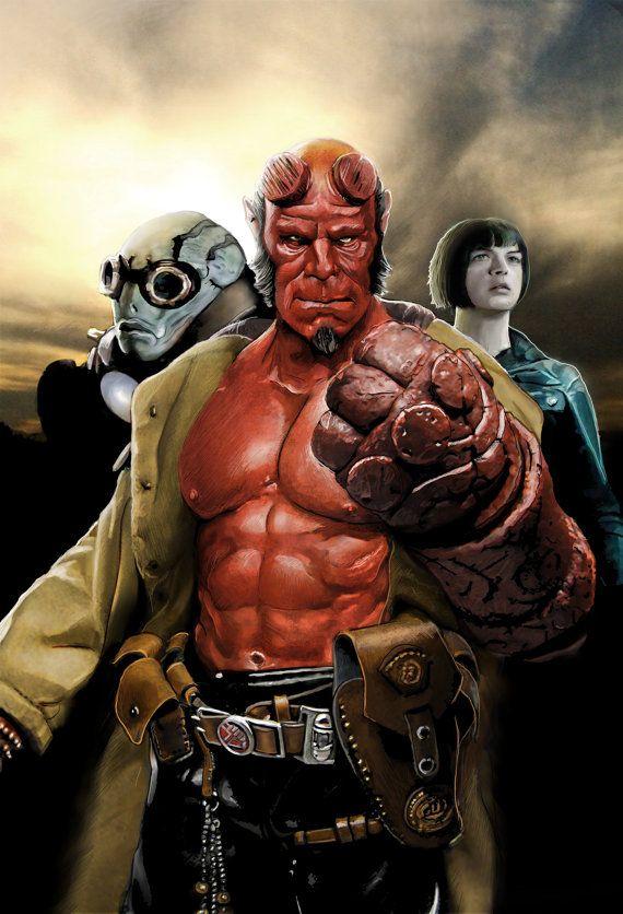 Hellboy Power In Three Signed Print by ArtofStephenBryant on Etsy